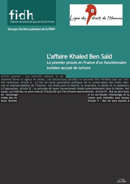 L'affaire Khaled Ben Saïd - Ligue des droits de l'Homme