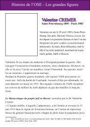 Histoire de l'OSE - Les grandes figures Valentine CREMER