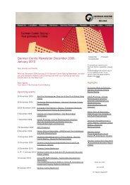 German Centre Newsletter Dezember 2009 - Beijing by Beijing