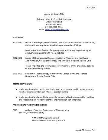 Curriculum Vitae - Belmont University