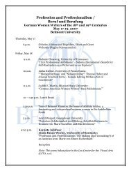 Profession and Professionalism / Beruf und Berufung - Belmont ...