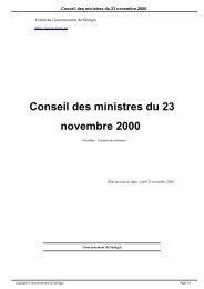 Conseil des ministres du 23 novembre 2000 - Gouvernement du ...