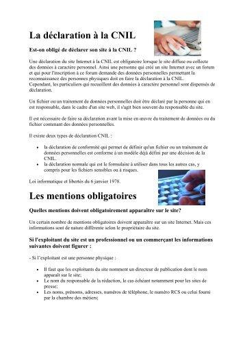 La déclaration à la CNIL Les mentions obligatoires