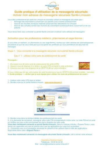 Guide Activer adresse messagerie sécurisée - Santé en Limousin