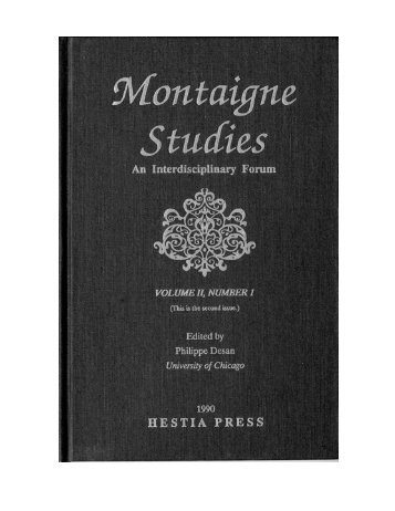 Free PDF Download - Montaigne Studies - University of Chicago