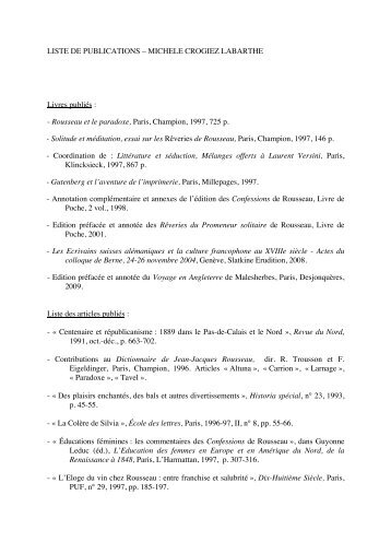 LISTE DE PUBLICATIONS – MICHELE CROGIEZ LABARTHE Livres ...