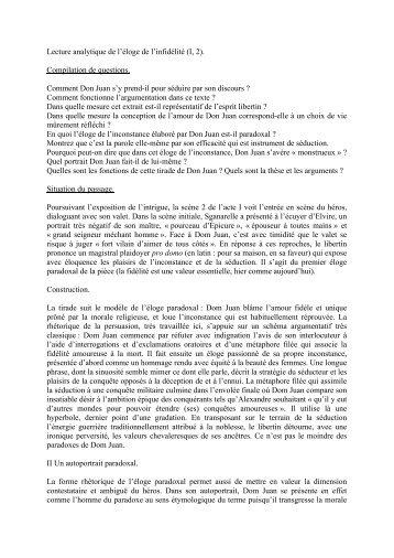 Lecture analytique de l'éloge de l'infidélité (I, 2). Compilation de ...