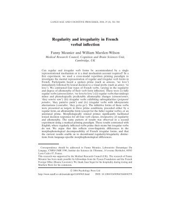 Regularity and irregularity in French verbal inflection - DDL - CNRS