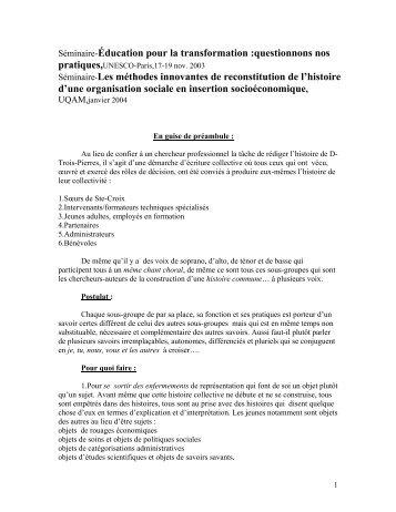 UQAM-janvier 2004 - Unesco