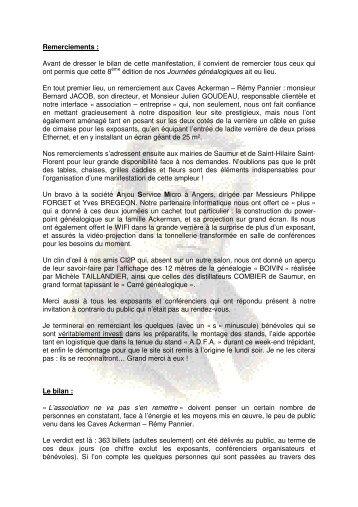 Remerciements et bilan - Association pour le Dictionnaire des ...