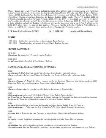 Curriculum Vitae - Artistes - Chambre Blanche