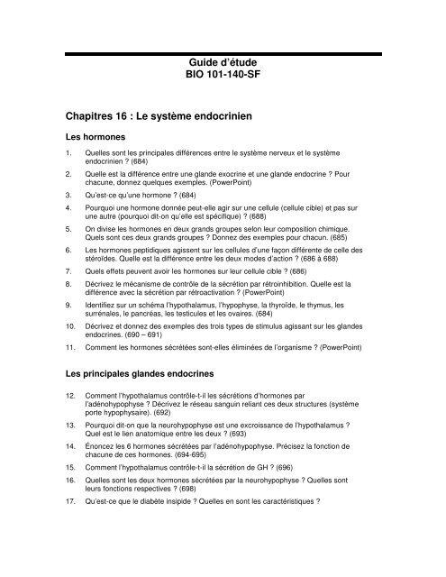 Guide d'étude BIO 101-140-SF Chapitres 16 : Le système endocrinien