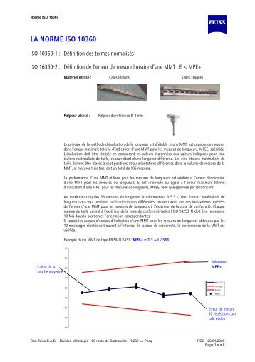LA NORME ISO 10360 - Carl Zeiss SAS
