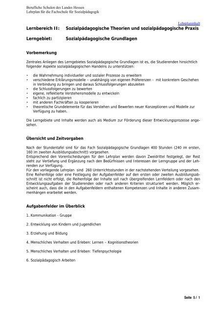 Sozialpädagogische Grundlagen - Berufliche Bildung in Hessen