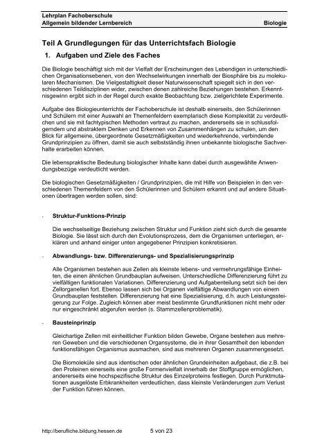 Biologie - Berufliche Bildung in Hessen