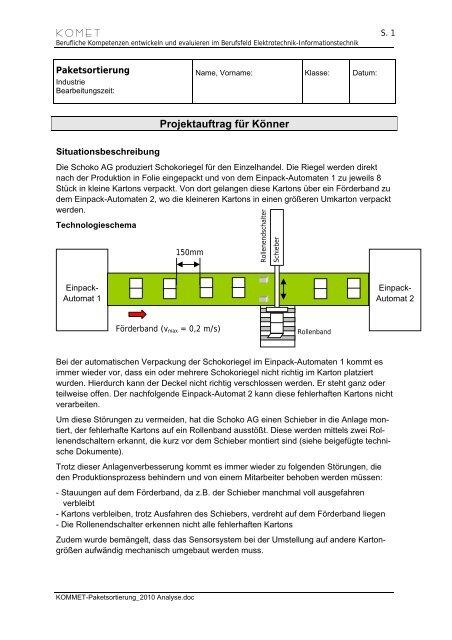 Paketsortierung - Analyse - Berufliche Bildung in Hessen