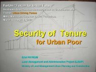 Security of Tenure - Forum for Urban Future in Southeast Asia