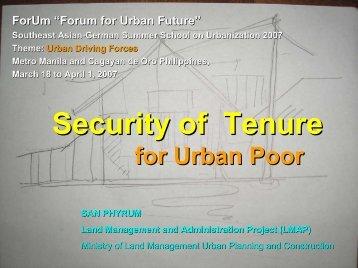 Security of Tenure - Forum for Urban Future in Southeast Asia