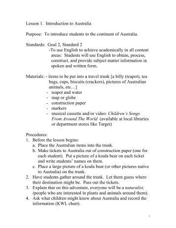 Lesson 1. Introduction to Australia Purpose: To introduce students to ...