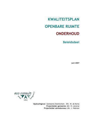 Kwaliteitsplan Openbare Ruimte - Bestuurlijke informatie van de ...