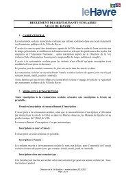 Règlement des restaurants scolaires 2012- 2013 mars ... - Le Havre