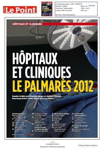 Palmarès des Hôpitaux et Cliniques 2012 - Clinique Pasteur