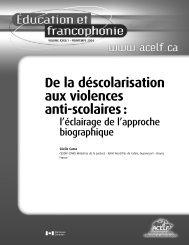 De la déscolarisation aux violences anti-scolaires: l'éclairage ... - acelf