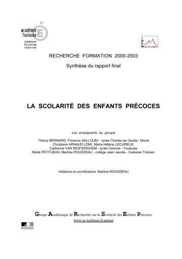LA SCOLARITÉ DES ENFANTS PRÉCOCES - Académie de Grenoble