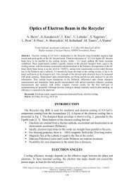 Optics of Electron Beam in the Recycler - BETACOOL home page