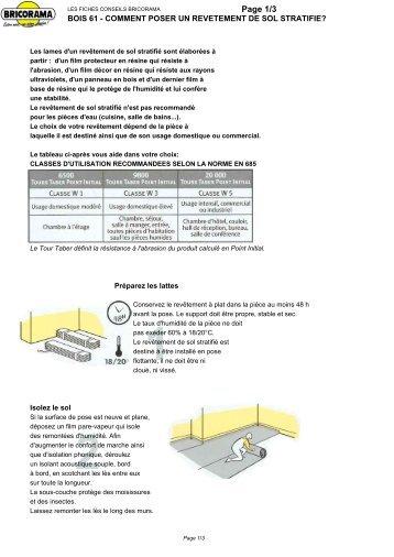 bois 61 - comment poser un revetement de sol stratifie? - Sopema
