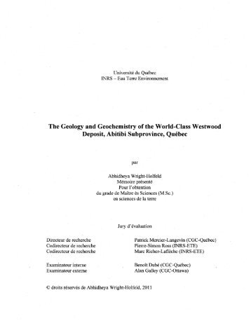 The Geology and Geochemistry of the World-Class Westwood - INRS