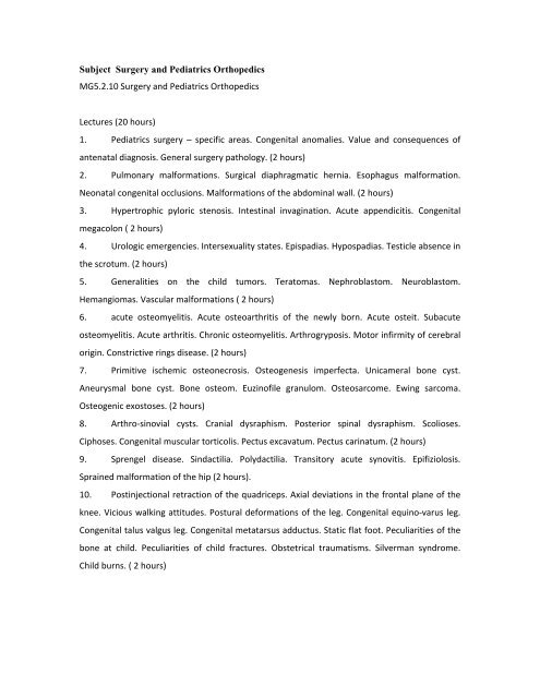Subject Surgery and Pediatrics Orthopedics MG5.2.10 ... - Gr.T. Popa