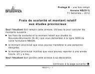 Frais de scolarité et montant relatif aux études provinciaux Seul l ...