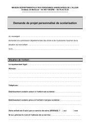 Demande de projet personnalisé de scolarisation