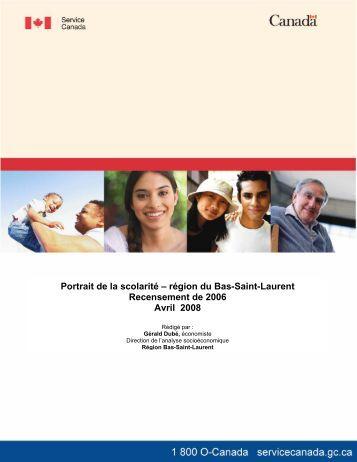 Portrait de la scolarité – région du Bas-Saint-Laurent Recensement ...