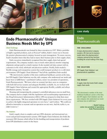 Endo Pharmaceuticals' Unique Business Needs Met by UPS