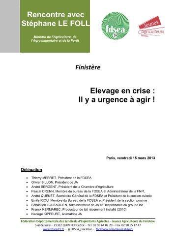 Elevage en crise : Il y a urgence à agir ! Rencontre avec ... - FDSEA