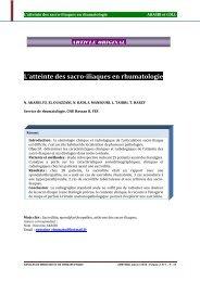 L'atteinte des sacro-iliaques en rhumatologie