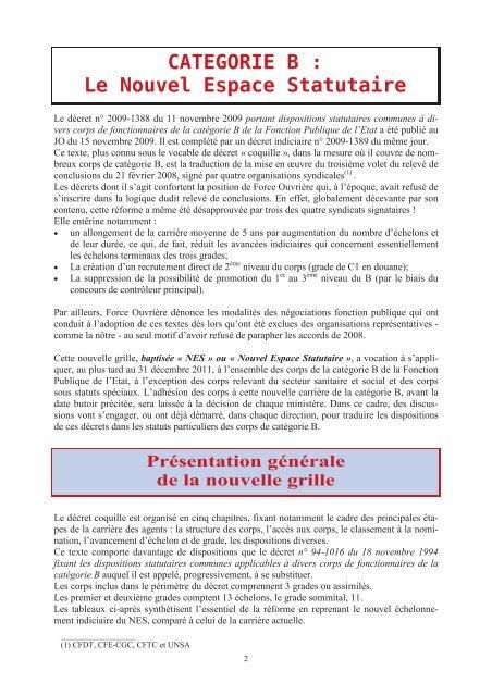 Nouvelle Grille Indiciaire De Categorie B Fo Douanes