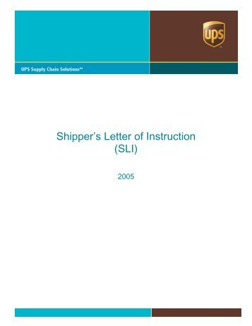 Letter of Instruction (SLI) - UPS Supply Chain Solutions