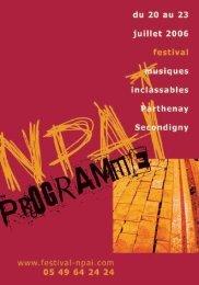 programme du festival - Benoit, Olivier - Free