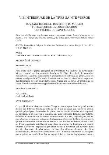 VIE INTÉRIEURE DE LA TRÈS-SAINTE VIERGE - La Theotokos