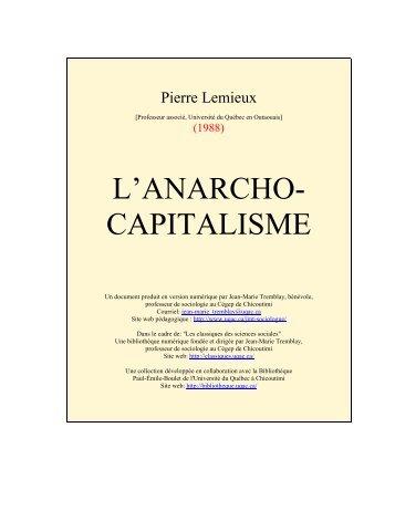 l'anarcho- capitalisme - Les Classiques des sciences sociales - UQAC