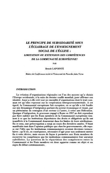 Le principe de subsidiarité - Université de Picardie Jules Verne