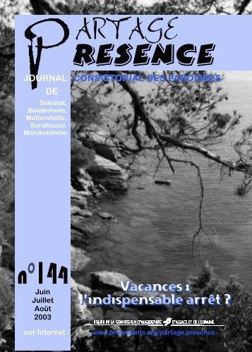 Partage Présence n°144 (juin - juillet - août 2003)