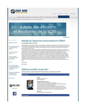 CSEP - February 2011 Student Newsletter - Canadian Society for ...