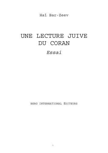 relecture en fonction de l'hébreu: Haï Bar-Zeev: Coran , Lecture juive