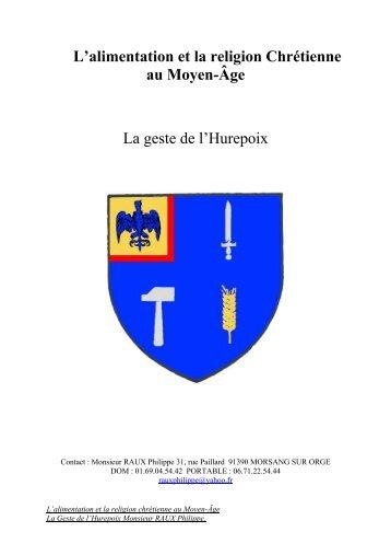 L'alimentation et la religion Chrétienne au Moyen-Âge La geste de l ...