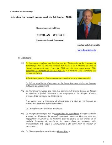Réunion du conseil communal du 24 février 2010 ... - Schuttrange