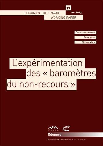 L'expérimentation des « baromètres du non-recours »